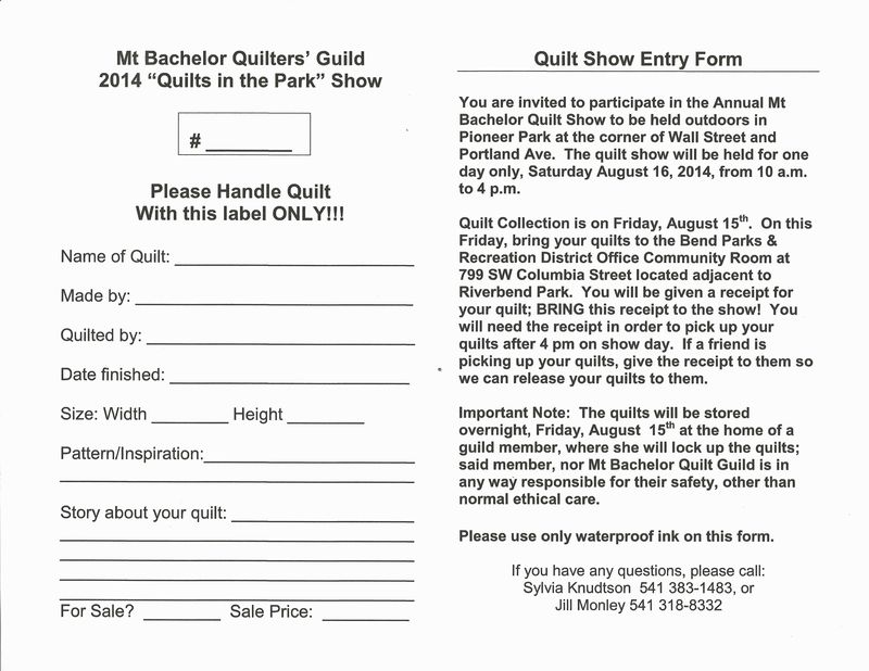 Quilt Show Entry Forms and Quilt Collection - Mt Bachelor Quilters