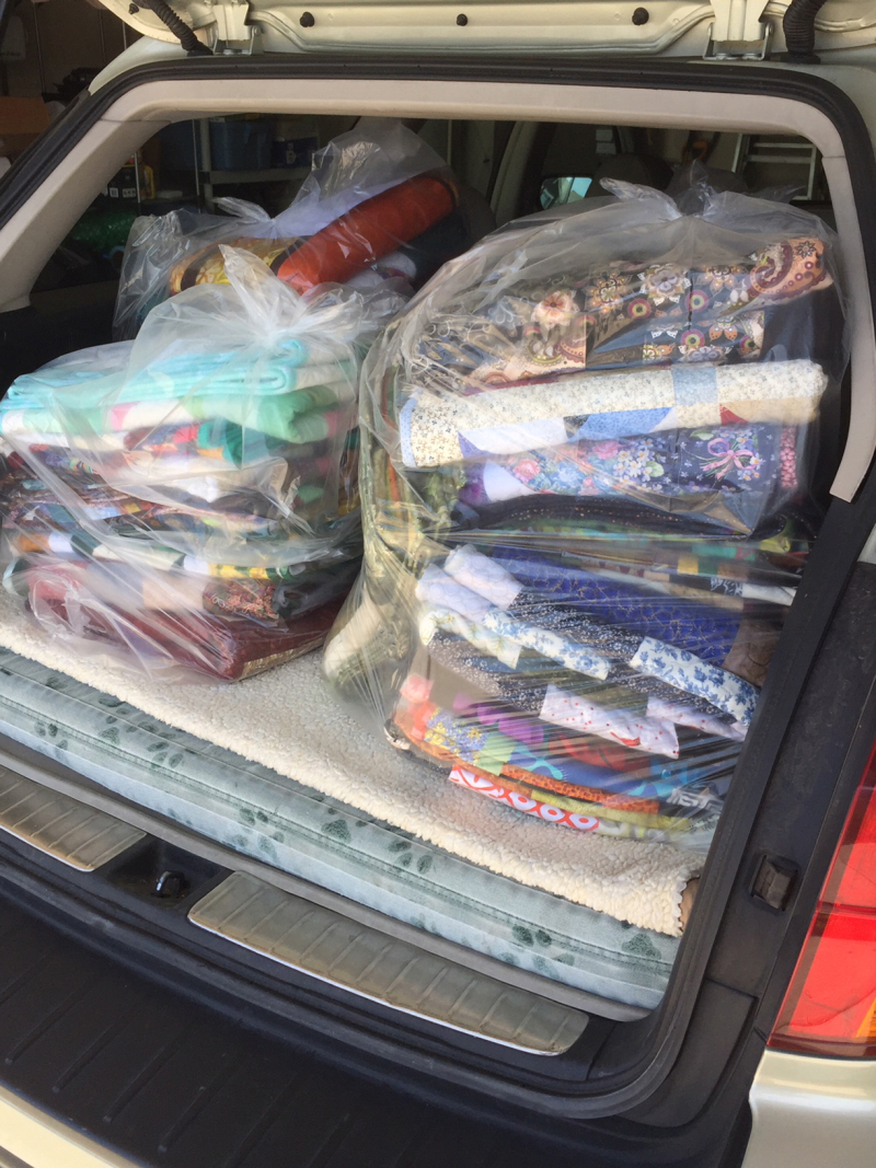 MBQG Community Quilts Distribution- Car loaded for Saving Grace